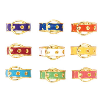 Buckle Gold Enamel Ring