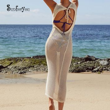 Long Knitted Beach Cover up tunic Plage robe Plage Bathing suit cover ups Sexy Women Long Beach Dress Sarong Beachwear Cover up