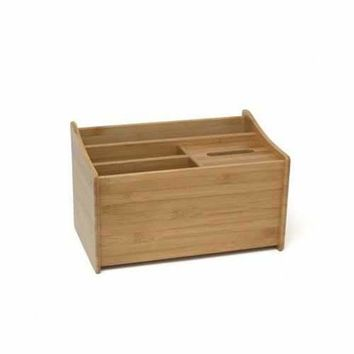 Bamboo Desk Org With Tissue Box