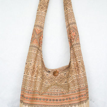 YAAMSTORE thai northern art graphic earth tone hobo bag sling shoulder crossbody hippie boho purse
