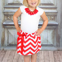Red Chevron Skirt - Ryleigh Rue Clothing by MVB