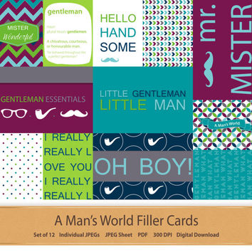 Boy Digital Filler Cards Baby Journal Digital Scrapbooking Little Gentleman Baby Scrapbook Memory Keeping Project Life Pocket Cards Blue