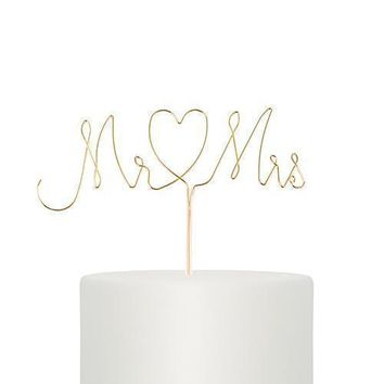 Mr. & Mrs. Twisted Wire Cake Topper - Gold (Pack of 1)