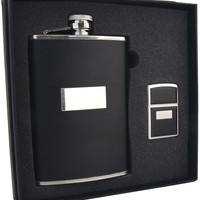 Visol Ontario Black Leather 8oz Flask & Zippo Lighter Gift Set