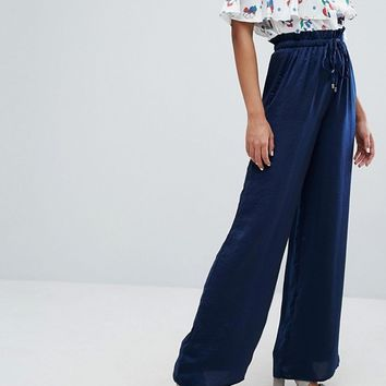 Lost Ink Wide Leg Trousers In Satin at asos.com