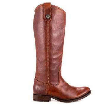 ESBONIG Frye Boot Melissa Button - Brown Tall Riding Boot