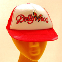 80s Vintage DOLLY PARTON Snapback hat Small Dollywood Custom Trucker Hat / Red White Baseball Cap / Hipster Mesh Hat / Butterfly Snap Back