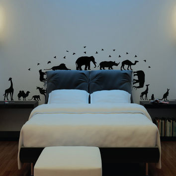 African safari animals wall decal