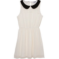 Teens Cream Contrast Collar Scallop Chiffon Dress