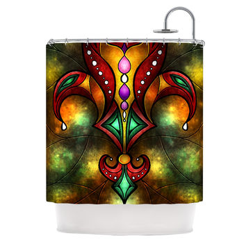 "Mandie Manzano ""Red Fleur De Lis"" Warm Shower Curtain"