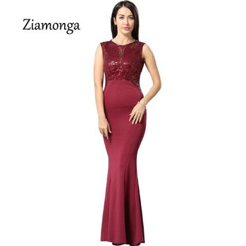 Ziamonga Women Elegant Sequined Formal Evening Party Mother Of Bride Special Occasion Dress Women Sexy Bodycon Long Maxi Dress