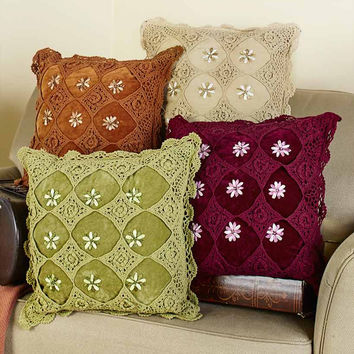 Vintage Accent Pillow Embroidered Crochet Overlay Flowers Scalloped Edge Velvet