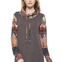 Tribal Print Cowl Neck Tunic - Brown