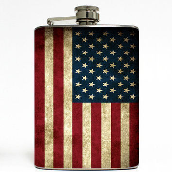 American USA Vintage Flag Vintage Stainless Steel 8oz Hip Flask