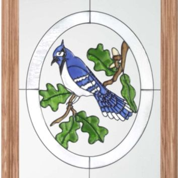 Blue Jay Bird Vertical Stained Art Glass Panel