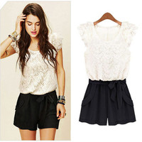 White and Black Lace Color Block Romper