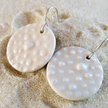 Porcelain Polka Dot Earrings - White on White