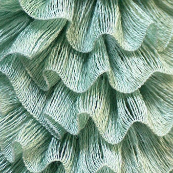 SALE Samba yarn Mint green Ruffle scarf yarn by Mashacrochet