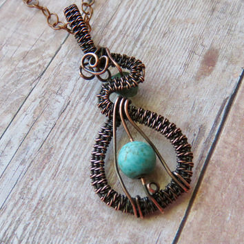 Turquoise Reversible Copper Pendant - Wire Wrapped Woven Pendant and Necklace