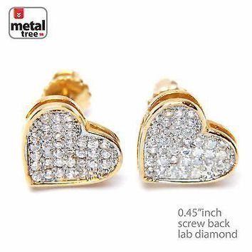Jewelry Kay style Iced Out 14k Gold Plated Lab Diamond Caved Heart Screw Back Earrings 921 G