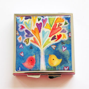 Pill Box, Pill Case, Hearts, Birds, Tree with hearts, Square Pill box, Square Pill case, 4 Sections, Lauren Alexander, bright colors (4080)