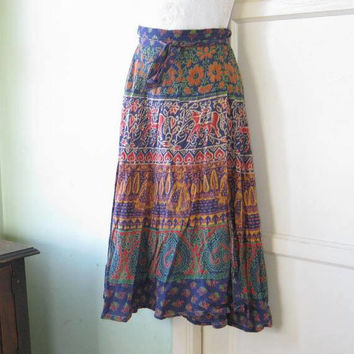 Boho Vintage '60s-'70s Blue/Red/Purple/Teal Indian Print Wraparound Skirt with Couples, Elephants, Birds, Yogis; Small-Med.; Free Ship/U.S.
