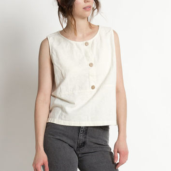 Vintage 90s Natural Ivory Cotton and Linen Sleeveless Henley Tank | L