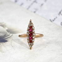 Victorian Diamond and Ruby Navette Ring, Antique 10k Rose Gold Rustic Rose Cut Marquise, Alternative Engagement, Diamond Cocktail Ring