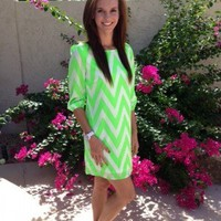 Neon Green ZigZag Dress