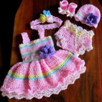 Baby outfit crochet baby dress hat headband shoes and diaper cover crochet baby set newborn set