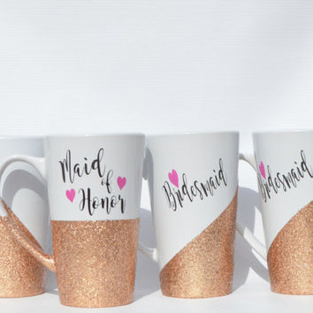 Bridal Party Mugs Glitter Dipped Maid Of Honor Gift Wedding