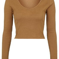 V-Neck Ribbed Top - Camel