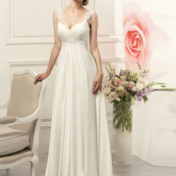 New Stock Vestido De Novia US Size 2-22 White/Ivory Appliques Chiffon Beach Wedding Dress Lace Wedding Gown Robe De Mariage