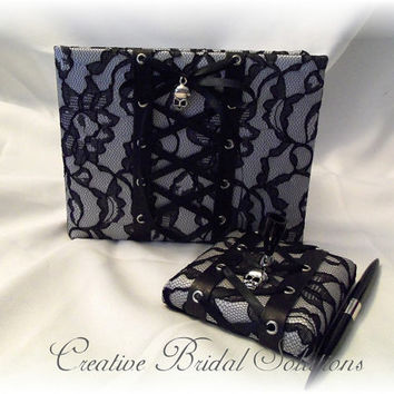 Gothic Wedding Black and White Lace-up Guest Book and Guest Pen, Goth Guest Book, Lace Guest Book, Black and White Guest Book, Goth Wedding