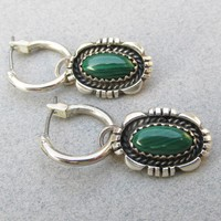 Signed Emily Spencer Vintage Native American Navajo Sterling Silver Malachite Charm Dangle Hoop Pierced Earrings