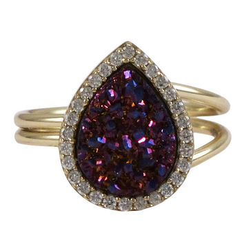 Wine Druzy Teardrop Gold Plated Sterling Silver CZ Ring