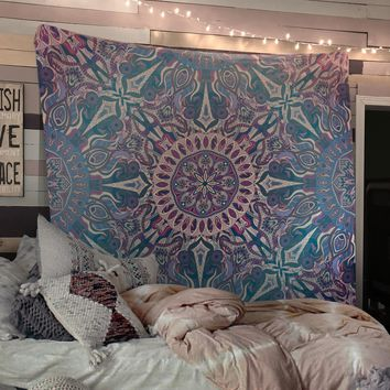 Reiki Charged Trippy Mandala Tapestry Blue Distressed Tapestry Wall Hanging Meditation Yoga Grunge Hippie
