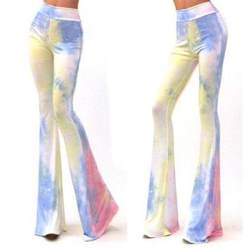 ESBG8W Women Vintage Bell Bottom Pants Printed Lounge Stretch  Hippie Boho Trousers
