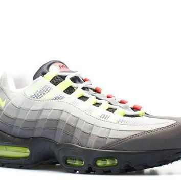 DCCKUN7 Ready Stock Nike Air Max 95 Og Qs Greedy Black Volt Safety Orange Sport Running Shoes