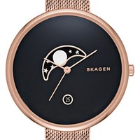 Women's Skagen 'Gitte - Moon Phase' Watch, 38mm - Rose Gold/ Black