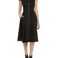 Black Zipper Button Dress
