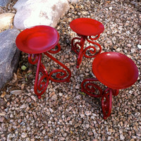 Lovely Cherry Red 3 Piece Scroll Candle Set by ReVampeDesigns