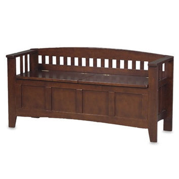 Wengate Split Seat Storage Bench in Walnut Wood Finish