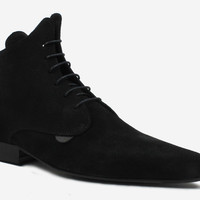 WINKLEPICKER LACE-UP ANKLE BOOT - BLACK SUEDE - CUSTOM MADE - Underground