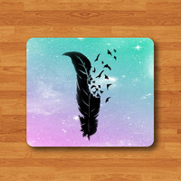 Bird Feather Blow Wind Black Shadow Freedom Mouse Pad Black Drawing Desk Pastel Deco Rubber Computer Work Pad MousePad Art Sky