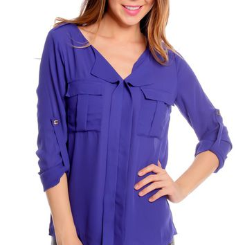 ROYAL BLUE CASUAL 3/4 ROLL UP SLEEVE TWO POCKET BLOUSE