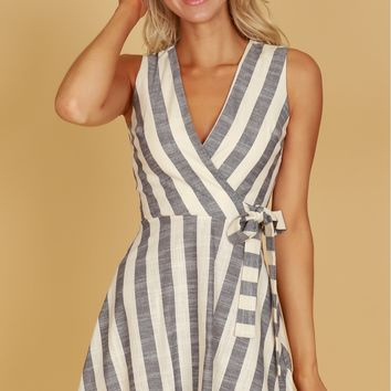 Textured Striped Dress Navy