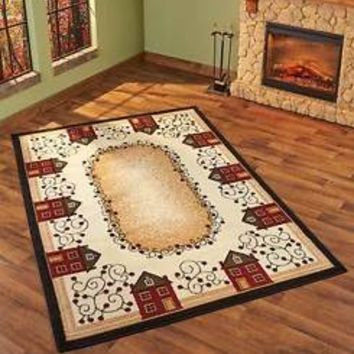 "Primitive Houses Area Rug 63"" x 90""  Primitive Country Living Room Home Decor"