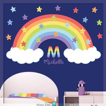 Rainbow decal with stars - Rainbow sticker, Pastel rainbow wall decal - Nursery wall decal - Rainbow and Clouds decal - nursery decal