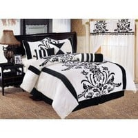 Chezmoi Collection 7-Piece White with Black Floral Duvet Cover Set for Queen Size Bedding